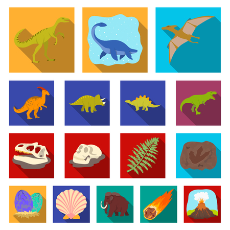 Different dinosaurs flat icon.