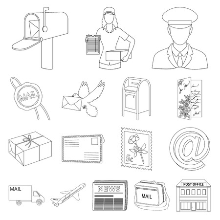 Mail and postman outline icons.