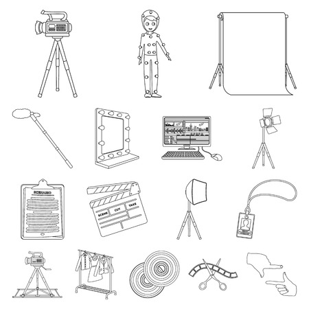 Making a movie outline icons. Stock Illustratie