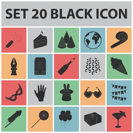 Party, entertainment black icons. Vettoriali