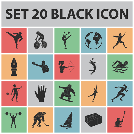 Different kinds of sports black icons in set collection for design. Athlete, competitions vector symbol stock  illustration. Ilustracja
