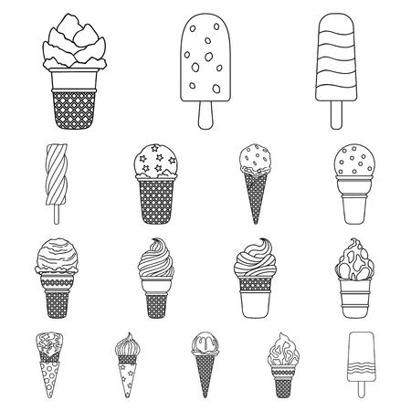 Different ice cream outline icons. Vettoriali