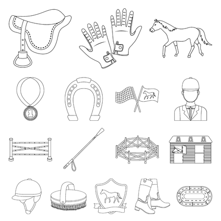 Hippodrome and horse outline icons.n. Stock Illustratie