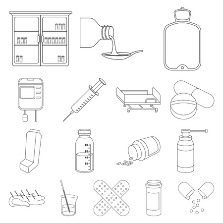 Medicine and treatment outline icons.