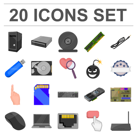 Set of computer parts and accessories icon. Фото со стока - 91890716