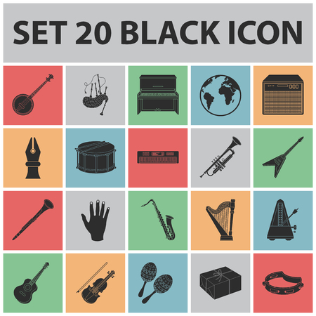 Musical instrument black icons in set collection for design. String and wind instrument symbol, stock web illustration.