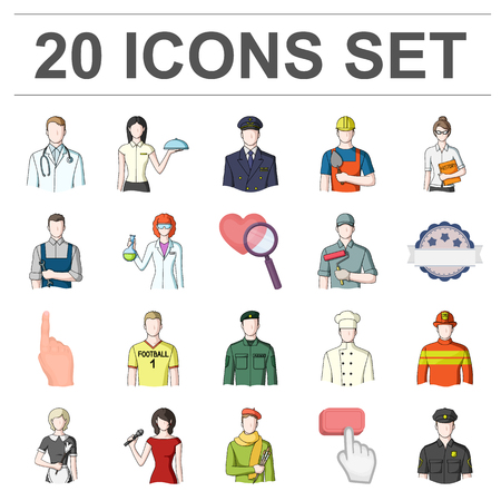Set of people with different profession icon.
