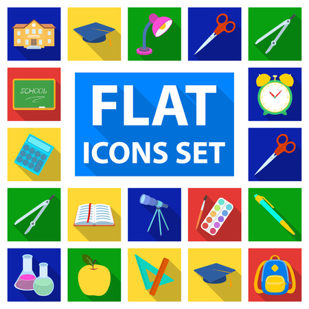 School and education flat icons in set collection for design.College, equipment and accessories vector symbol stock  illustration.