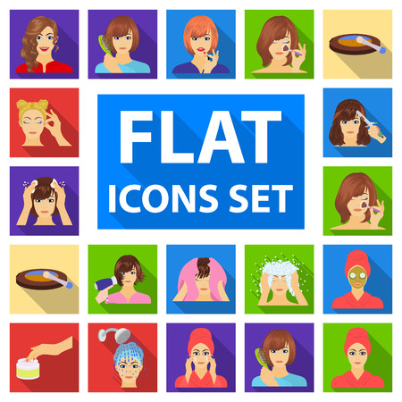 Care Of Hair And Face Flat Icons In Set Collection For Design