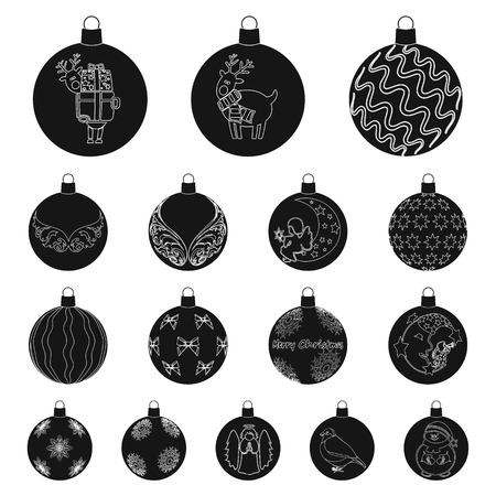 Christmas toys black icons in set collection for design.New Year balls vector symbol stock illustration.