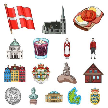 Set of Denmark cartoon icon illustration. Vettoriali