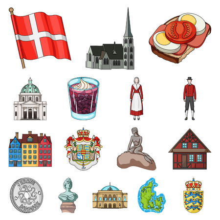 Set of Denmark cartoon icon illustration. Çizim