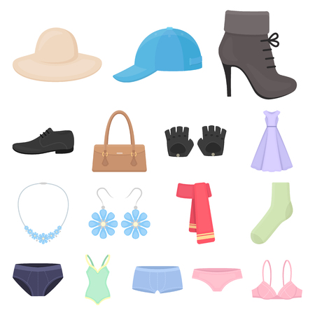 Clothes and accessories cartoon icons in set collection for design. Shoes and decoration vector symbol stock web illustration. Illustration
