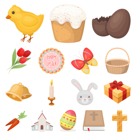 Easter is a Christian holiday cartoon icons.