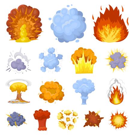 Verschiedene Explosionskarikaturikonen in der Satzsammlung für Design Blitz- und Flammenvektorsymbol-Vorratillustration. Standard-Bild - 91890621