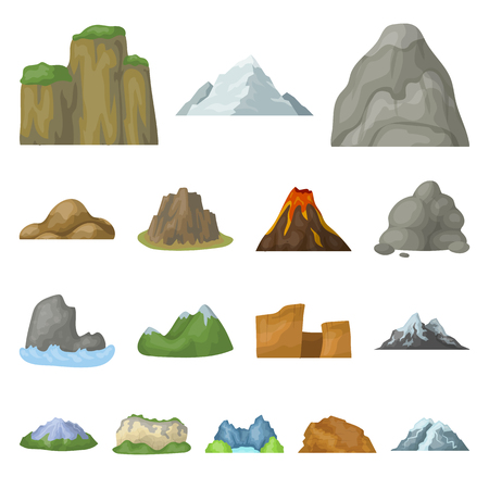 Different mountains cartoon icons in set collection for design.Mountains and landscape vector symbol stock  illustration.
