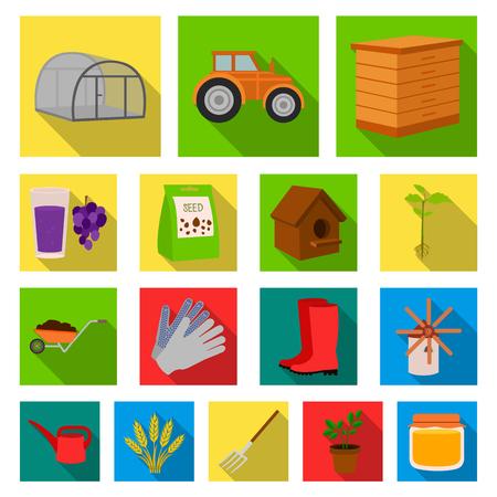 Boerderij en tuinieren plat pictogrammen in set collectie voor design. Boerderij en apparatuur vector symbool stock illustratie. Stock Illustratie