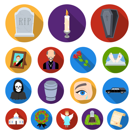 Funeral ceremony flat icons. Illustration