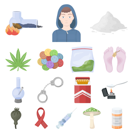 Drug addiction and attributes cartoon icons in set collection for design  Addict and Drug vector symbol stock web illustration.