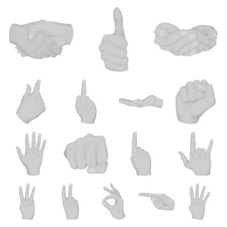 Hand gesture monochrome icons in set collection for design, Palm and finger vector symbol stock web illustration.