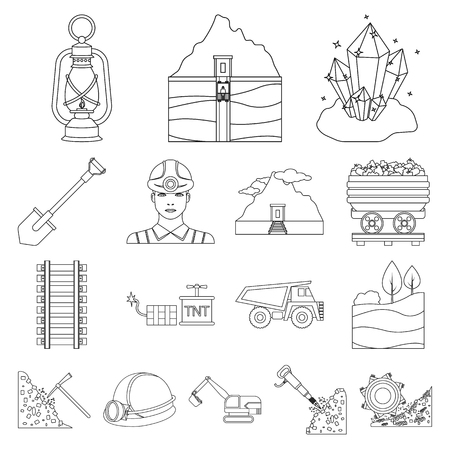 Mining industry outline icons in set collection for design, Equipment and tools symbol stock web illustration.