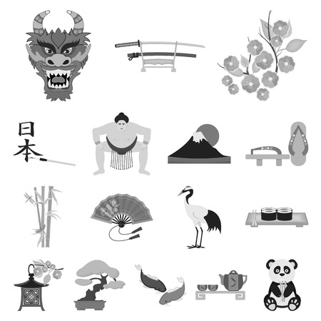Country Japan icons in set collection for design in gray scale illustration, Japan and landmark symbol stock web illustration.