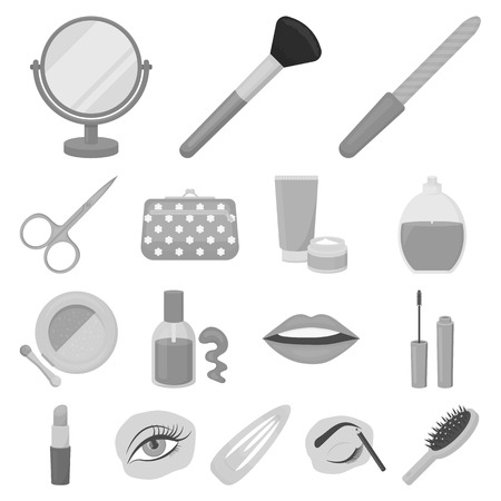 Makeup and cosmetics icons in set collection for design in gray scale illustration, Makeup and equipment symbol stock web illustration.