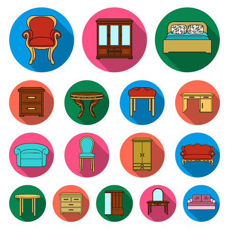Furniture and interior flat icons set collection vector illustration