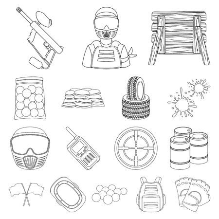 Paintball, team game outline icons in set collection for design, Equipment and outfit symbol stock web illustration.