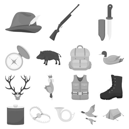 Hunting and trophy monochrome icons in set collection for design, Hunting and equipment symbol stock web illustration.