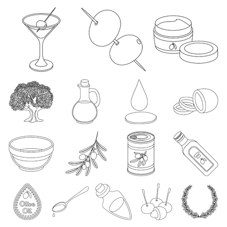 Olive, food outline icons in set collection for design. Olive oil, seasoning vector symbol stock  illustration.