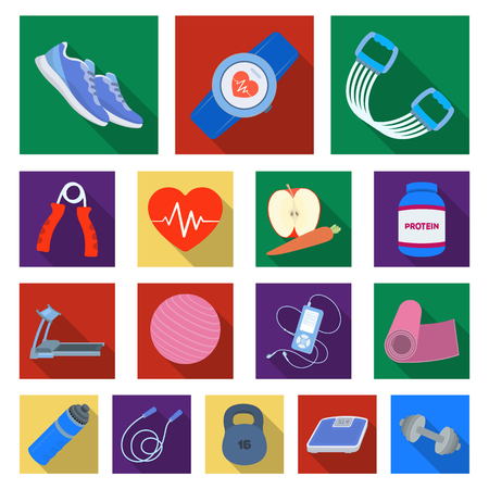 Gym and training flat icons in set collection for design in colored illustration.