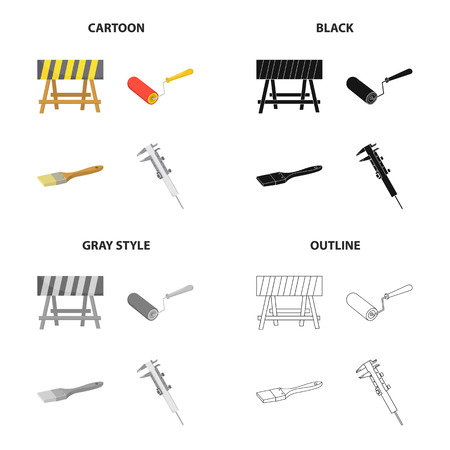 Construction and repair set collection icons such as Fencing at the construction site, repair roller, paintbrush, calipers  in cartoon, black,gray, outline style symbol stock illustration web.