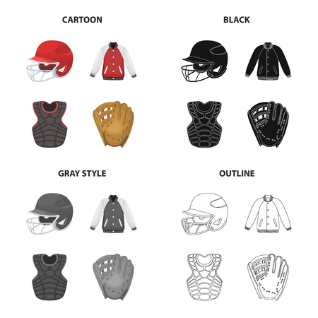 Sports, game, competition design elements such as helmet, jacket, protection, gloves in cartoon, black , gray and outline illustration.