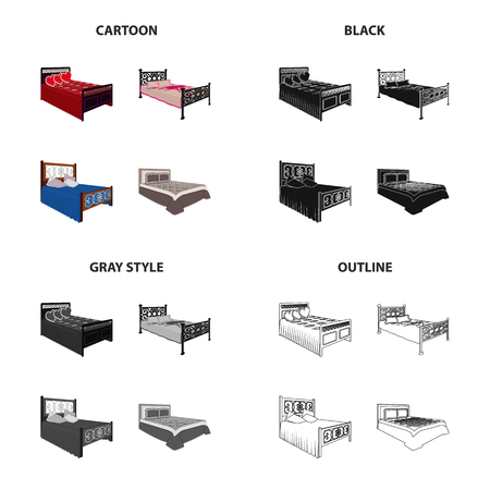Bed, mattress, bedspread, and other web icon in cartoon, black, gray and outlined style illustration.