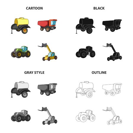 A barrel with water a trailer a dumper an agricultural tractor a forklift. Different kinds of agricultural machinery set collection icons in cartoon black monochrome outline style vector symbol stock isometric illustration web.
