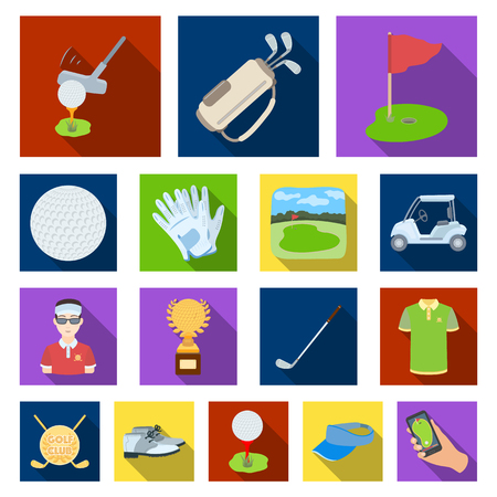 Golf and attributes flat icons in set collection for design.