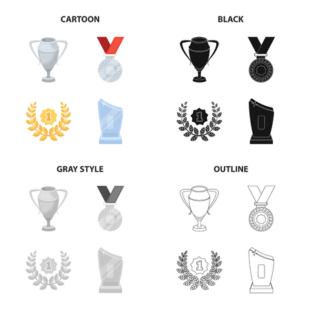 Trophy, prize, meed, and other web icon in cartoon style. Illustration