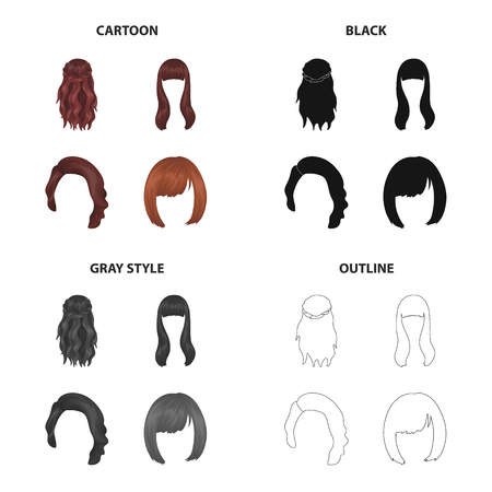 Wig icons set collection vector illustration