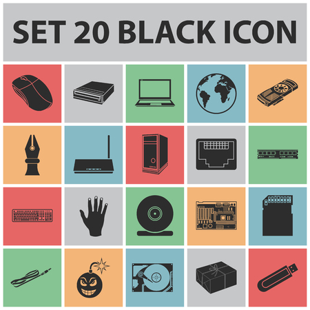 Personal computer black icons in set collection for design, Equipment and accessories vector symbol stock web illustration.