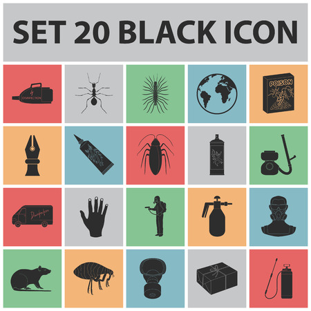 Pest, poison, personnel and equipment black icons in set collection for design, Pest control service symbol stock web illustration. Vectores