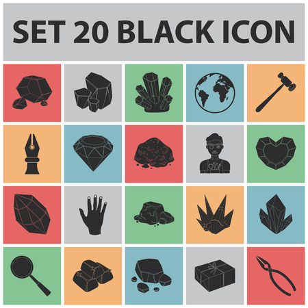 Precious Minerals black icons in set collection for design, Jeweler and Equipment vector symbol stock web illustration. Ilustração