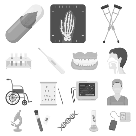 Medicine and treatment icons in set collection for design in gray scale illustration.
