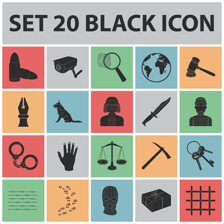 Prison and the criminal black icons in set collection for design, Prison and Attributes symbol stock web illustration. Illustration
