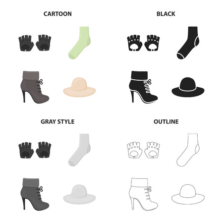 Accessories gloves, sock, women s boot, clothing hat. Clothes and accessories set collection icons in cartoon black monochrome outline style vector symbol stock illustration web.