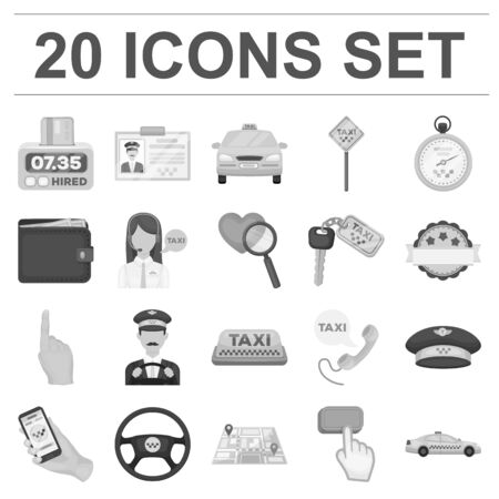 Taxi service monochrome icons in set collection for design. Taxi driver and transport vector symbol stock web illustration.