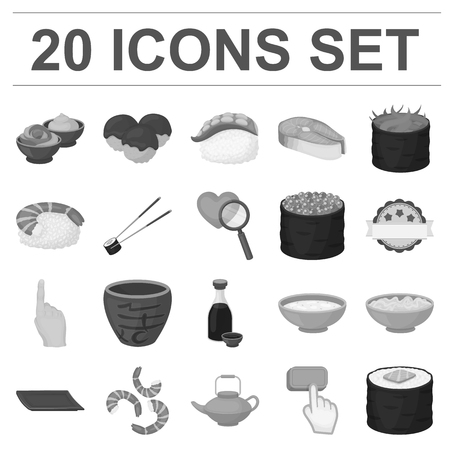 Sushi and seasoning monochrome icons in set collection for design. Seafood food, accessory vector symbol stock web illustration.