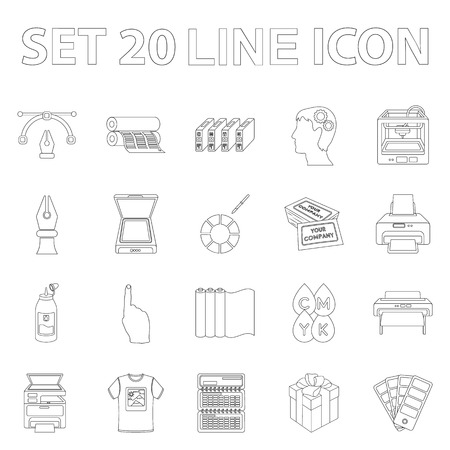 Typographical products outline icons in set collection for design. Printing and equipment vector symbol stock web illustration. Illustration