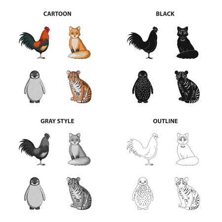 Rooster, fox, tail, and other web icon in cartoon style.Animals, bird, domestic, icons in set collection.
