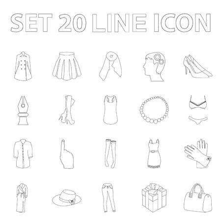 Kleidungs-Entwurfsikonen der Frauen in der Satzsammlung für Design Kleidungs-Vielzahl und Zubehörvektorsymbolvorrat-Netzillustration. Vektorgrafik